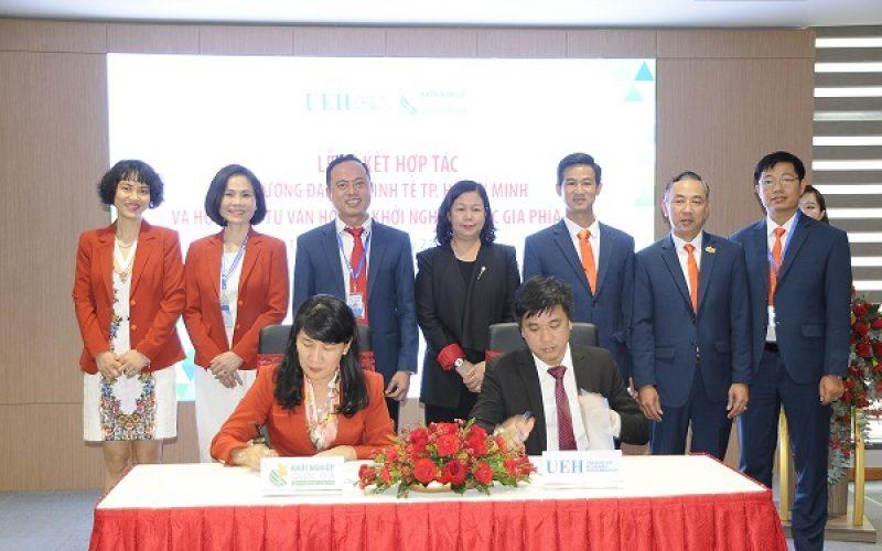Hội đông Tư vấn và Hỗ trợ Khởi nghiệp quốc gia phía Nam ký kết Hợp đồng ghi nhớ hợp tác với trường Đại học Kinh tế TP.HCM, nhằm tăng cường hỗ trợ sinh viên khởi nghiệp.